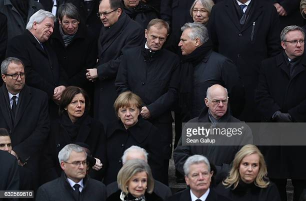 Dignitaries family members and other mourners including German Chancellor Angela Merkel Bundesrat President Malu Dreyer Bundestag President Norbert...