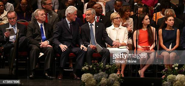 Dignitaries including former mayor Richard M Daley from left Sen Dick Durbin former President Bill Clinton Mayor Rahm Emanual wife Amy Rule and their...
