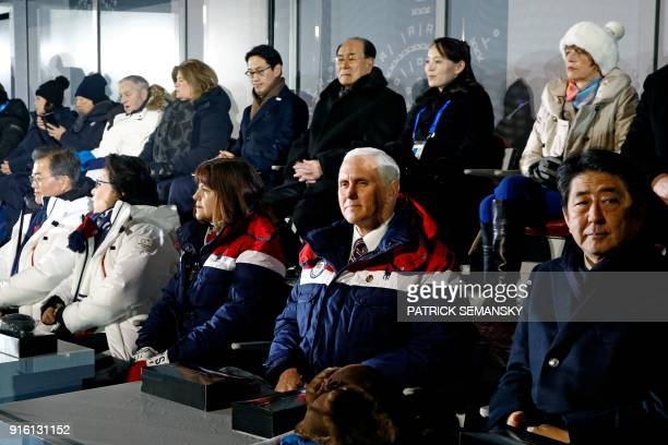 Dignitaries including South Korea's President Moon Jaein Moon's wife Kim JungSook US Vice President Mike Pence Pence's wife Karen Pence Japan's Prime...