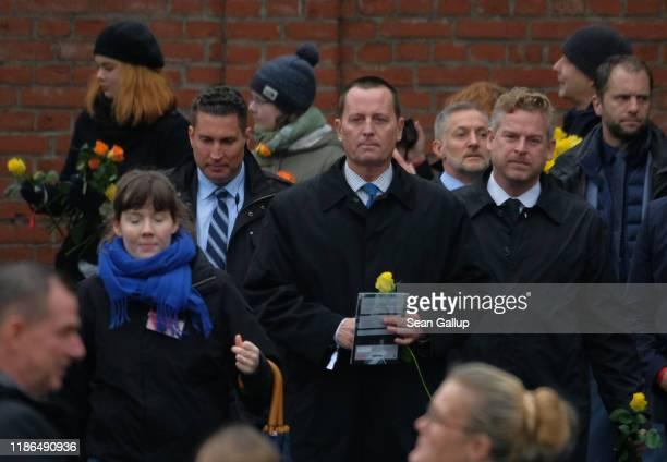 Dignitaries including US Ambassador to Germany Richard Grenell attend a ceremony to celebrate the 30th anniversary of the fall of the Berlin Wall on...
