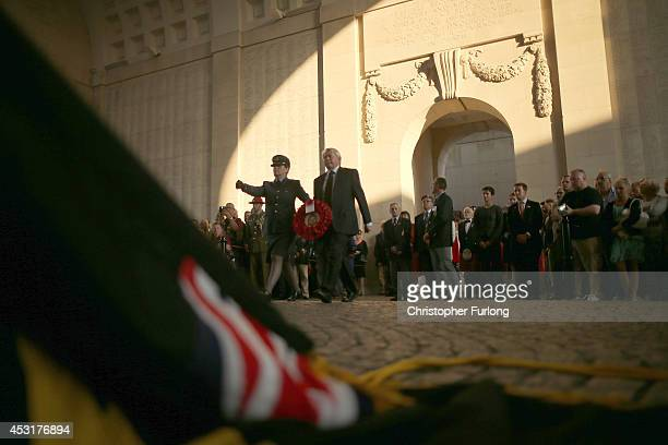 Dignitaries lay wreaths after the playing of the Last Post at the Menin Gate Memorial to the Missing on August 4 2014 in Ypres Belgium Today marks...