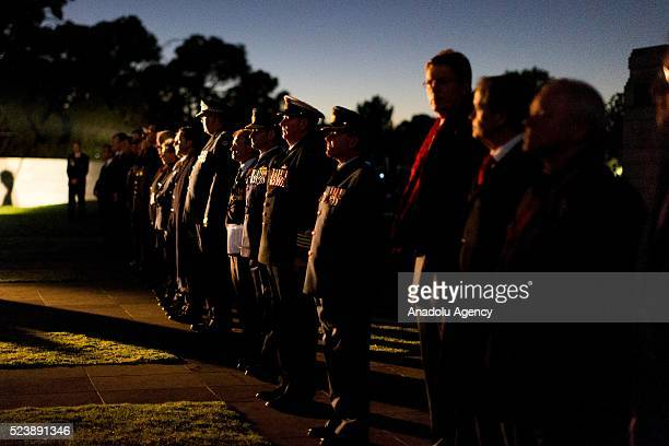 Dignitaries line up during the Anzac dawn service held at the Shrine of Remembrance during the Anzac dawn service held at the Shrine of Remembrance...