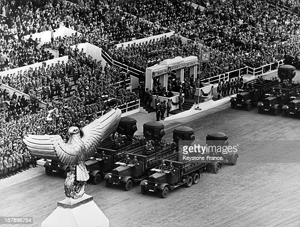 Dignitaries platform at a military parade for the celebration of the 50th birthday of Adolf Hitler on April 20 1939 in Berlin Germany