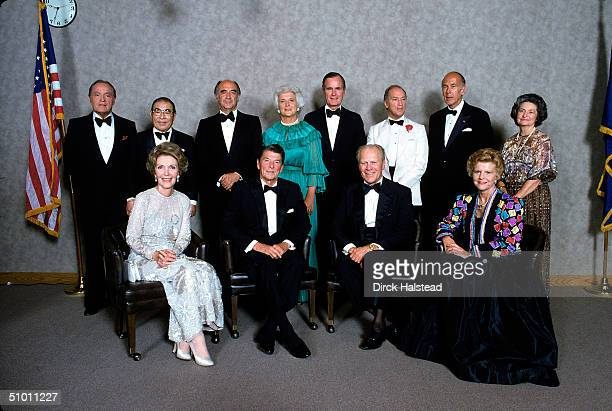 Dignitaries pose at the opening of the Gerald Ford Museum Grand Rapids Michigan September 1981 Back row from left Britishborn American entertainer...