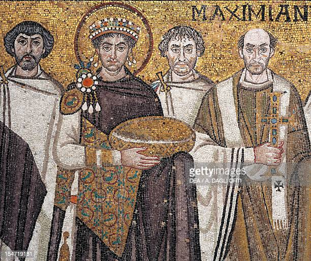 A dignitary Justinian Giuliano Argentario also interpreted as John or a prefect and Bishop Maximian detail from Emperor Justinian with his entourage...