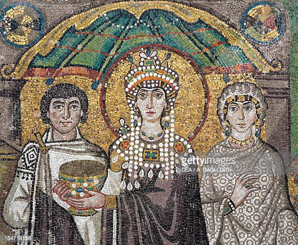 A dignitary the sovereign Theodora and Antonina Belisarius' wife detail from Theodora with her entourage mosaic south wall of the apse Basilica of...