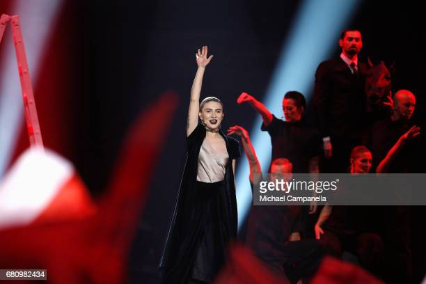 Dihaj representing Azerbaijan performs the song 'Skeletons' during the first semi final of the 62nd Eurovision Song Contest at International...