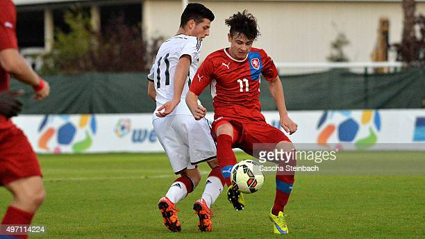 Dijon Ramaj of Germany vies with Dominik Breda of Czech Republic during the U18 four nations friendly tournament match between Germany and Czech...