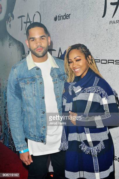 Dijon Talton and Meagan Good attend TAO Park City Presented by Tinder and Tequila Don Julio at TAO Park City on January 20 2018 in Park City Utah