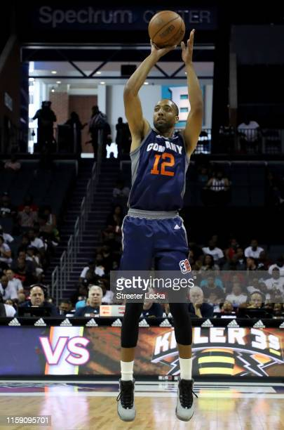 Dijon Thompson of 3's Company shoots against Killer 3s during week two of the BIG3 three on three basketball league at Spectrum Center on June 29,...