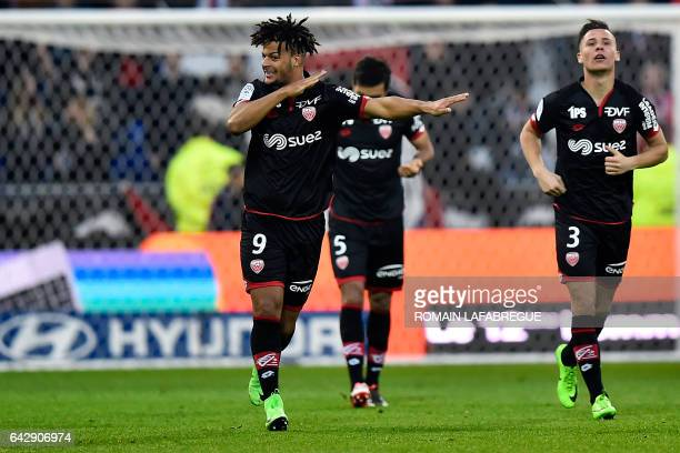 Dijon's French forward Lois Diony celebrates after scoring a goal during the French L1 football match between Olympique Lyonnais and Dijon on...