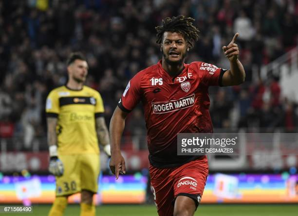 Dijon's French forward Lois Diony celebrates after scoring during the French L1 football match between Dijon FCO and Angers SCO on April 22 2017 at...