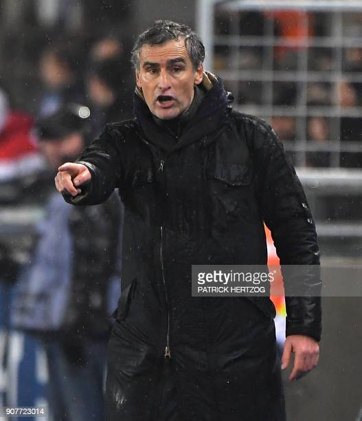 Dijon's French head coach Olivier DallOglio reacts during the French Ligue 1 football match between Strasbourg and Dijon on January 20 2018 at the...