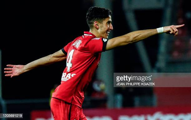 Dijon's Morrocan defender Nayef Aguerd celebrates after scoring a goal during the French L1 football match between Dijon and Toulouse at the Gaston...
