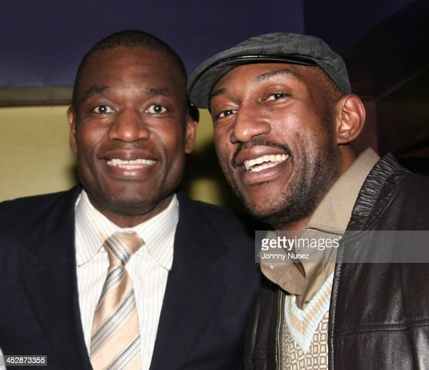 Dikembe Mutombo and DJ Mbenga attend the Kenny Smith 8th Annual AllStar Bash on February 12 2010 in Dallas Texas