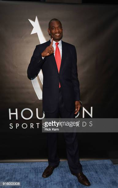 Dikembe Mutombo arrives at the Houston Sports Awards on February 8 2018 in Houston Texas