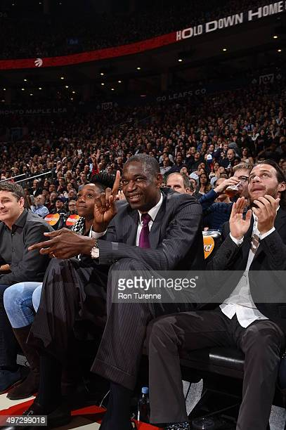 Dikembe Mutombo attends the game between the Toronto Raptors and the New Orleans Pelicans on November 13 2015 at the Air Canada Centre in Toronto...