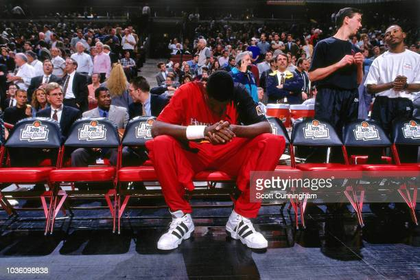 Dikembe Mutombo of the Atlanta Hawks is seen during the game against the Chicago Bulls on May 8 1997 at the United Center in Chicago IL NOTE TO USER...