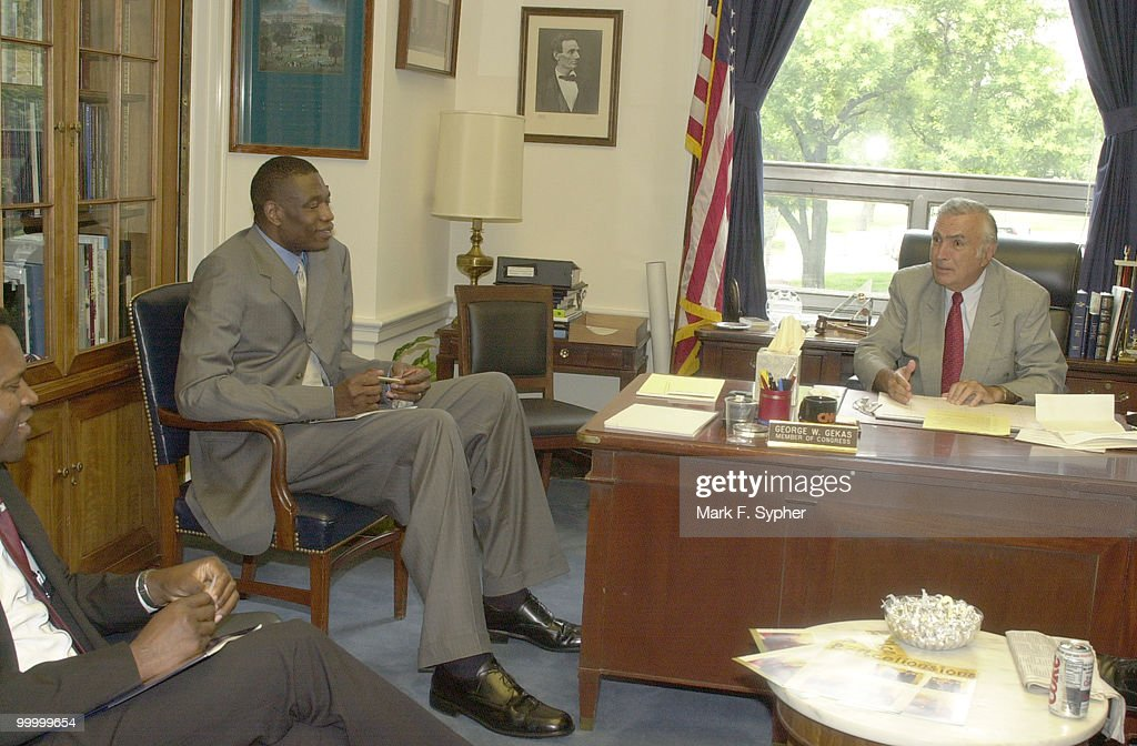 Dikembe Mutombo pays a visit to Rep. George Gekas (R-PA), along with his cousin, local cardiologist Louis Kanda.