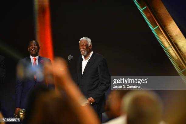 Dikembe Mutombo presents the Lifetime Achievement Award to Bill Russell during the 2017 NBA Awards Show on June 26 2017 at Basketball City in New...