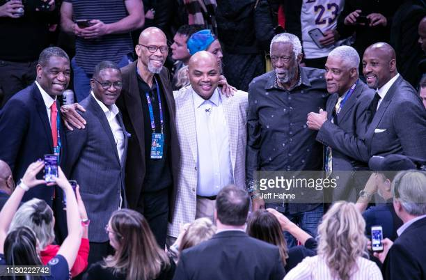 Dikembe Mutumbo Dominique Wilkins Kareem AbdulJabbar Charles Barkley Bill Russell Julius Erving and Alonzo Mourning attend the 2019 NBA AllStar...