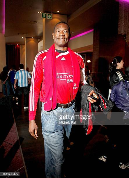 Dikembe Mutumbo NBA legend and Global Ambassador at the Crystal Towers Hotel before participating in the Special Olympics Unity Cup Match presented...