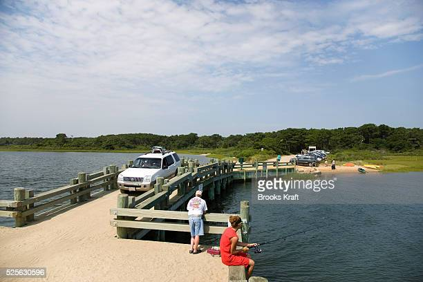 Dikes Bridge on Chappaquiddick a small island adjacent to Martha's Vineyard Senator Ted Kennedy had a car accident off this bridge that resulted in...
