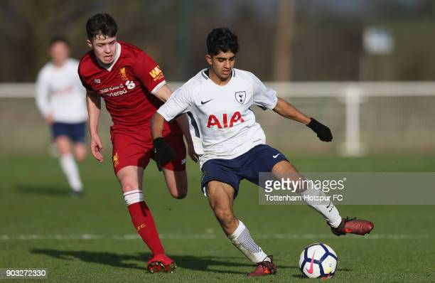 Dilan Markanday of Tottenham and Nico Williams of Liverpool during the U18 Premier League match between Tottenham Hotspur and Liverpool at Tottenham...
