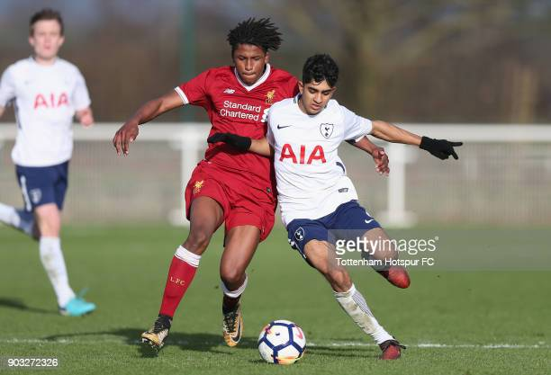 Dilan Markanday of Tottenham and Yasser Larouci of Liverpool during the U18 Premier League match between Tottenham Hotspur and Liverpool at Tottenham...