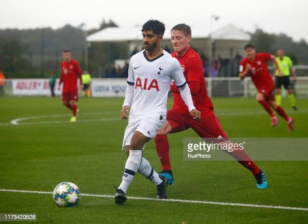 Dilan Markanday of Tottenham Hotspur during UAFA Youth League between Tottenham Hotspur and Bayern Munich at the Hotspur Way Enfield on 01 October...