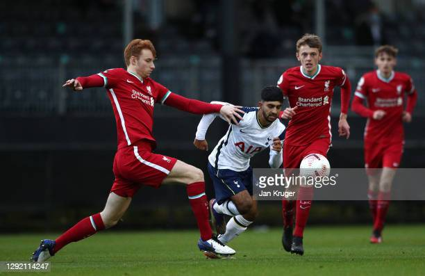 Dilan Markanday of Tottenham Hotspur U23 battles with Sepp van den Berg of Liverpool U23 during the Premier League 2 match between Liverpool U23...