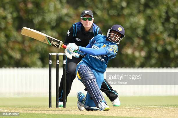 Dilani Manodara of Sri Lanka bats during the Third Women's One Day International match between New Zealand and Sri Lanka at Bert Sutcliffe Oval...