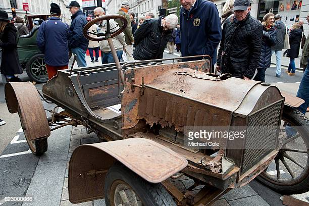 Dilapidated and rusted 1904 'French Front' Oldsmobile at Regent Street on November 5 2016 in London England