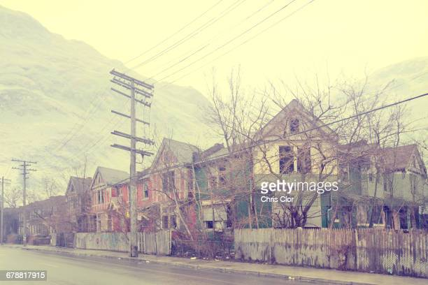 dilapidated city neighborhood, detroit, michigan, united states - run down stock photos and pictures