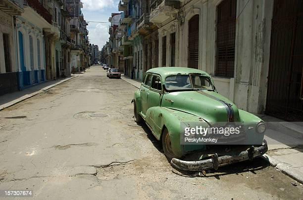 Dilapidated Classic American Car Desolate Havana Street Cuba