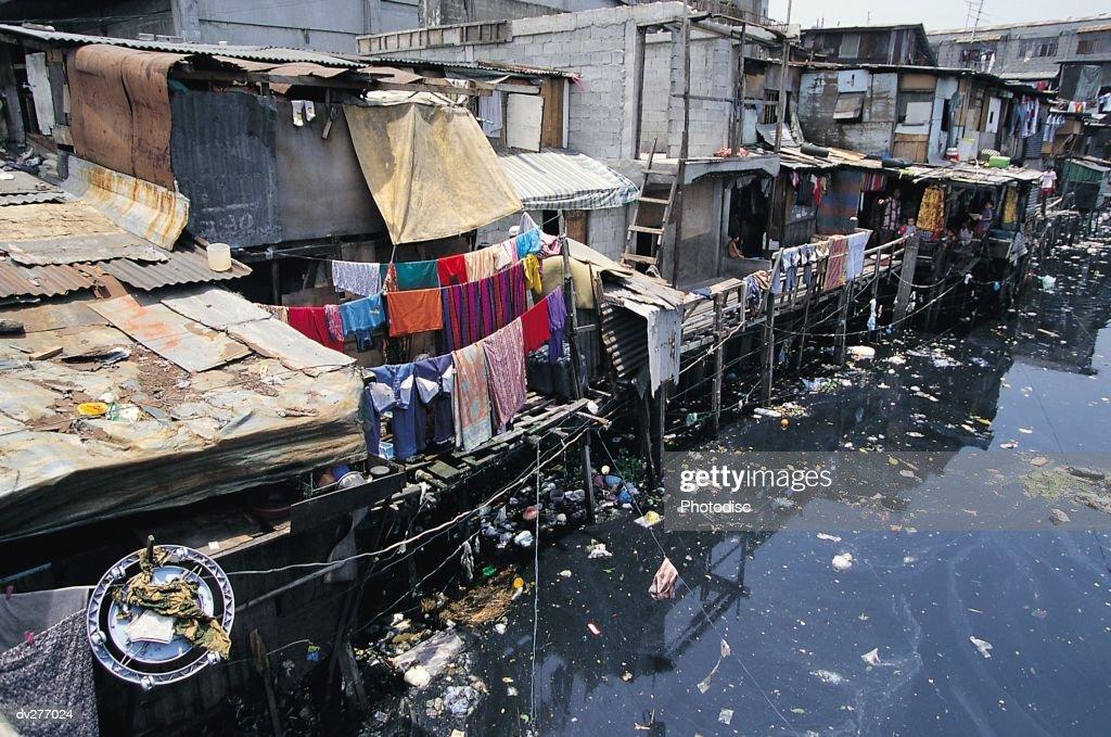 Dilapidated homes, Manila : Stock Photo