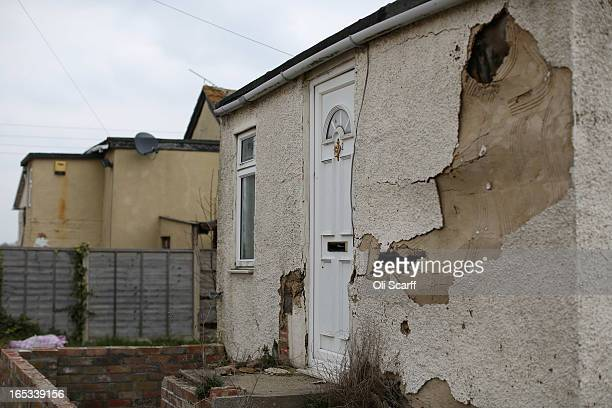 Dilapidated properties stand in the seaside town of East Jaywick the most deprived place in England on April 3 2013 in Jaywick England The...