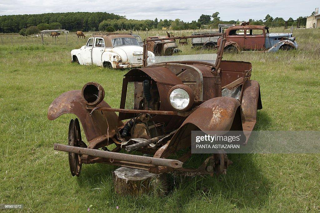 Dilapidated vintage cars are on display : News Photo