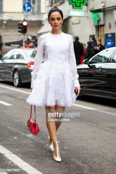 Diletta Amenta attends the Ermanno Scervino show at Milan Fashion Week Autumn/Winter 2019/20 on February 23 2019 in Milan Italy