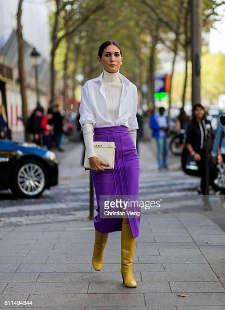 Diletta Bonaiuti wearing a purple skirt and yellow boots outside Balmain on September 29 2016 in Paris France