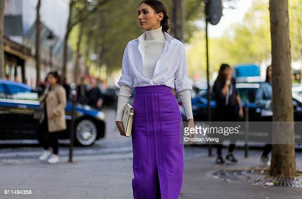Diletta Bonaiuti wearing a purple skirt outside Balmain on September 29 2016 in Paris France