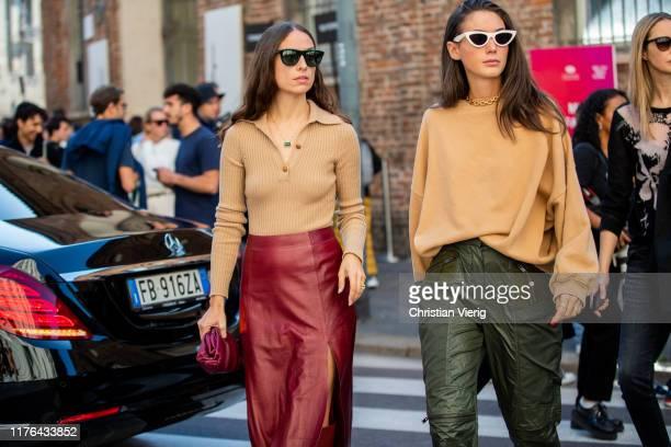 Diletta Bonaiuti wearing beige jumper khaki pants and Erika Boldrin seen wearing beige knit bordeaux Bottega Veneta mini pouch bag leather skirt...