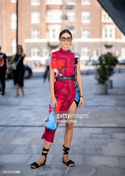 Diletta Bonaiuti wearing red Ferragmo dres is seen outside Designers Remix during the Copenhagen Fashion Week Spring/Summer 2019 on August 9 2018 in...
