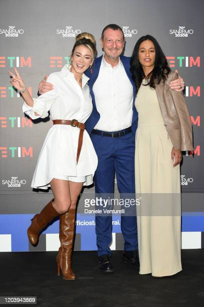 Diletta Leotta Amadeus and Rula Jebreal attend a photocall at the 70° Festival di Sanremo at Teatro Ariston on February 04 2020 in Sanremo Italy