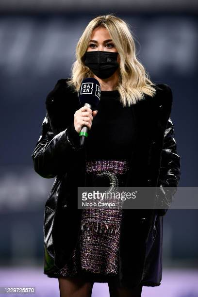 Diletta Leotta, anchor of DAZN broadcasts, looks on prior to the Serie A football match between Juventus FC and Cagliari Calcio. Juventus FC won 2-0...