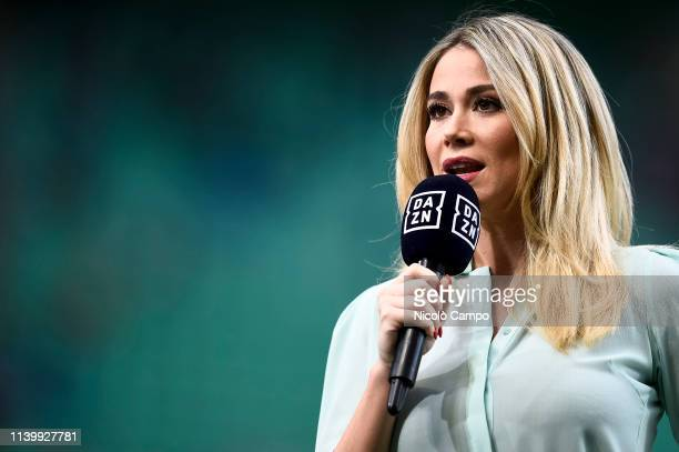 Diletta Leotta anchor of DAZN broadcasts speaks prior to the Serie A football match between FC Internazionale and Juventus FC The match ended in a 11...