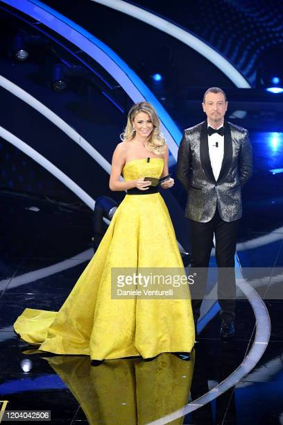 Diletta Leotta and Amadeus attend the 70° Festival di Sanremo at Teatro Ariston on February 04 2020 in Sanremo Italy
