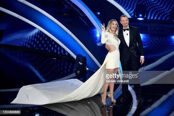 Diletta Leotta and Amadeus attend the 70° Festival di Sanremo at Teatro Ariston on February 08 2020 in Sanremo Italy