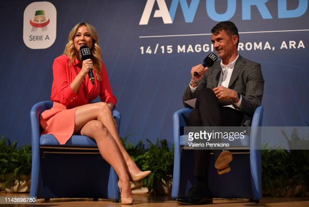 Diletta Leotta and Paolo Maldini attend during the AWords at Ara Pacis on May 14 2019 in Rome Italy