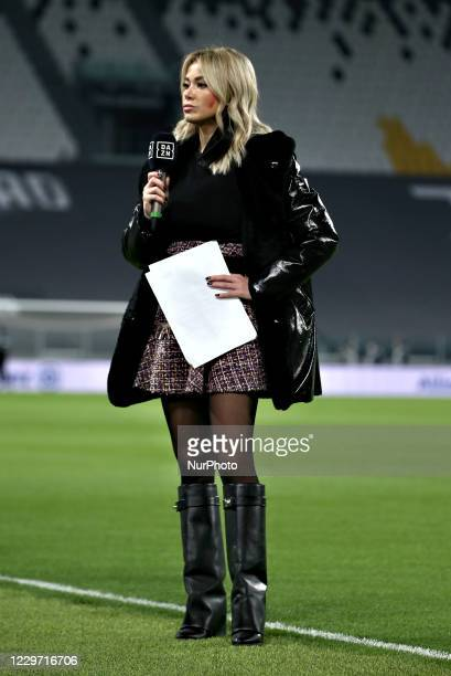 Diletta Leotta at the side of the pitch ahead of the Serie A match between Juventus and Cagliari Calcio at Allianz Stadium on November 21, 2020 in...